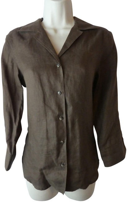 Ralph Lauren Brown S Linen Button-down Top Size 6 (S) Ralph Lauren Brown S Linen Button-down Top Size 6 (S) Image 1