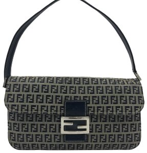 Fendi Navy Zucca Canvas Shoulder Bag