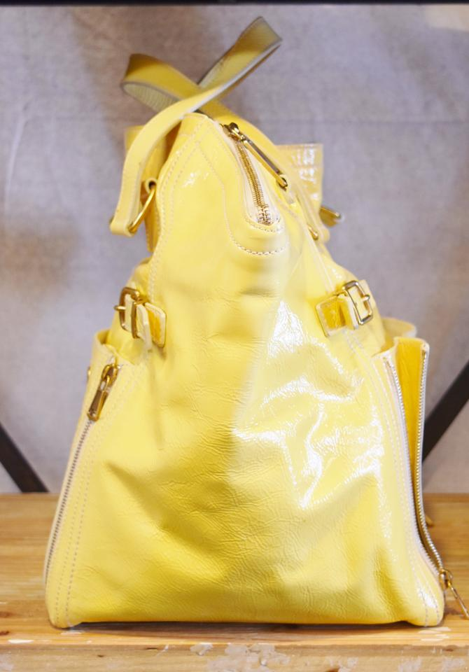 bfad085c9 Saint Laurent Downtown Yellow Patent Leather Tote - Tradesy