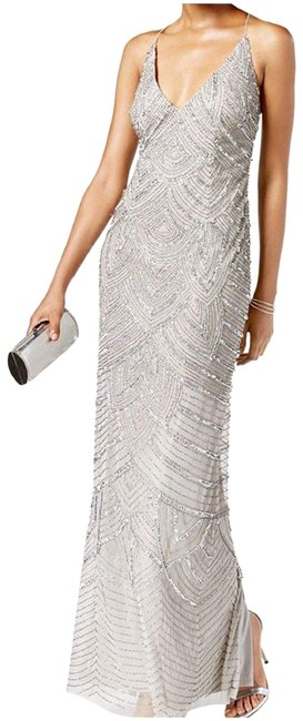 Item - Silver Beaded Embellished Sheath Art Deco Long Formal Dress Size 10 (M)