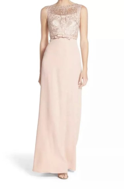 Item - Blush Lace Bodice Belted Gown Long Formal Dress Size 12 (L)