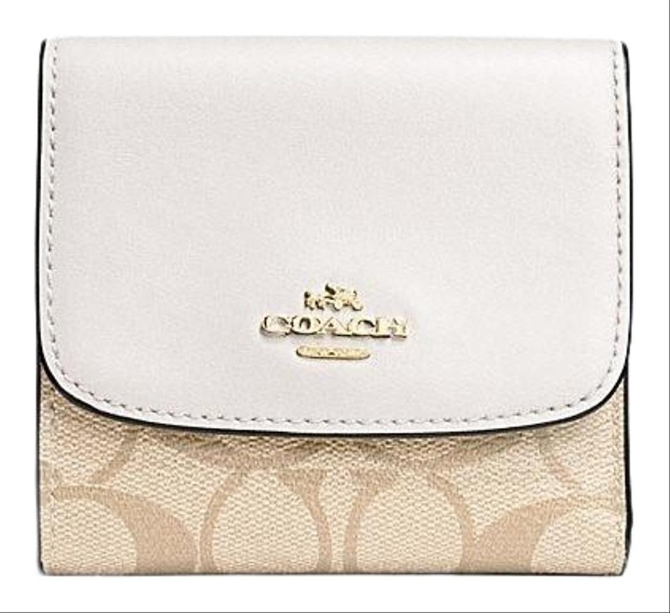 new concept 2f28c 76277 Coach Light Khaki Chalk Signature Small F87589 Wallet 51% off retail