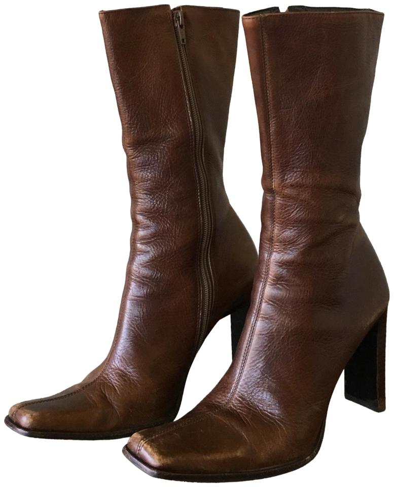 2e82223caae Steve Madden Tan Leather Jeannie Boots Booties Size US 7.5 Regular ...