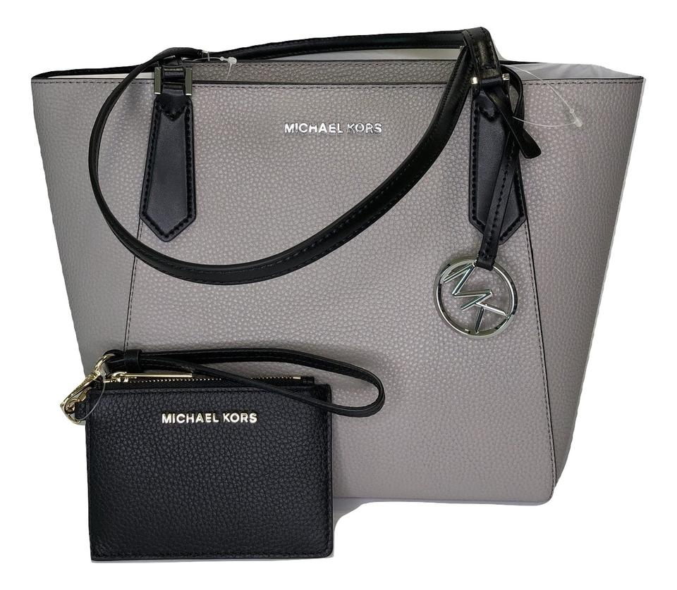 59243e08415e Michael Kors Matching Set Shoulder Messenger Crossbody Monogram Satchel in  Pearl Grey Black Image 0 ...