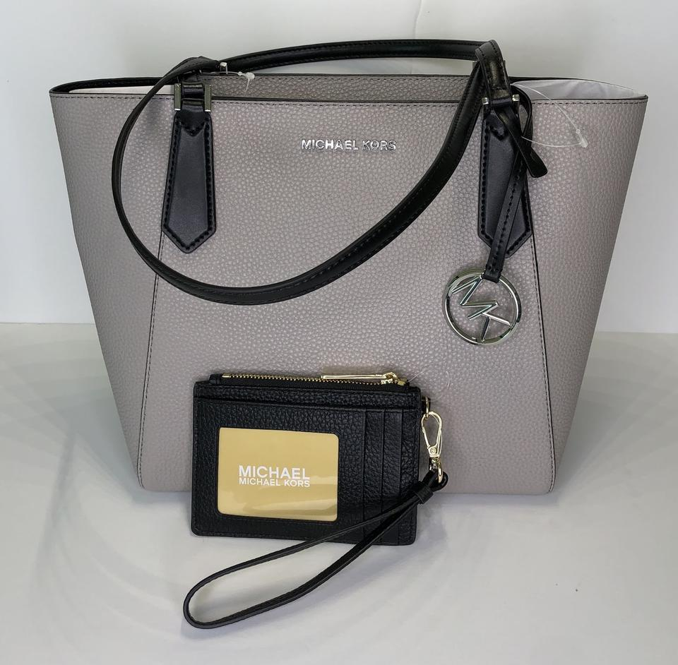 2300e0cc62c5 Michael Kors Kimberly Sm Bonded Tote and Matching Coin Wallet Pearl  Grey/Black Leather Satchel - Tradesy