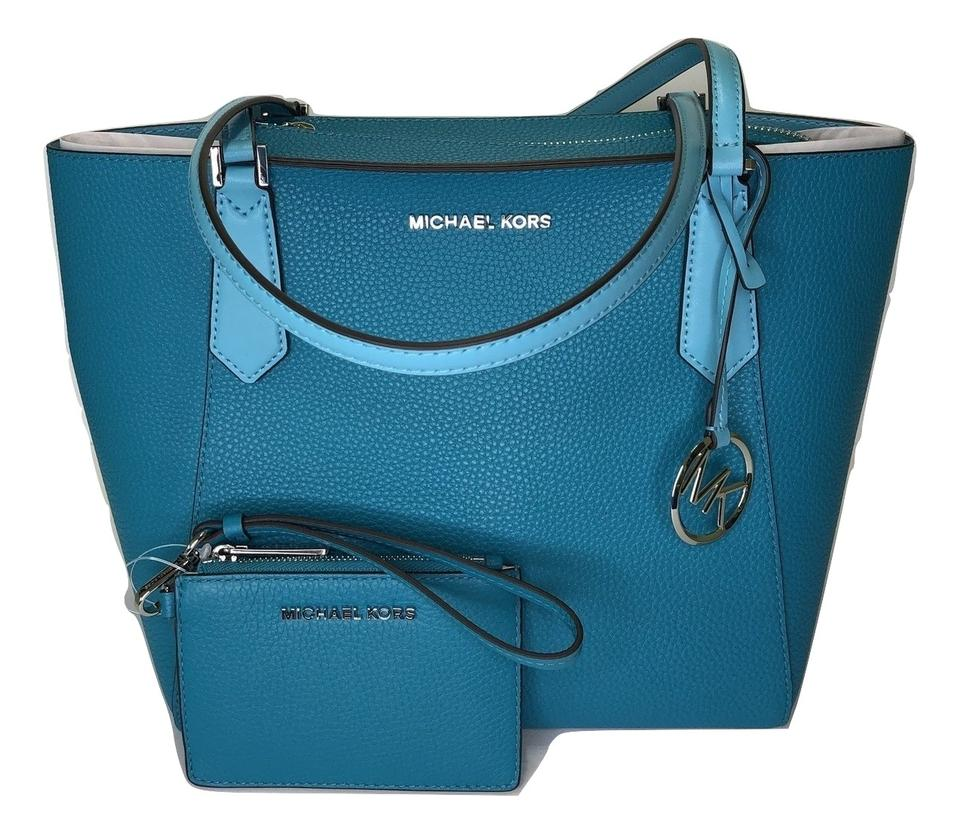 76032f1a8dd1 Michael Kors Matching Set Shoulder Messenger Crossbody Monogram Satchel in  Tile Blue Image 0 ...