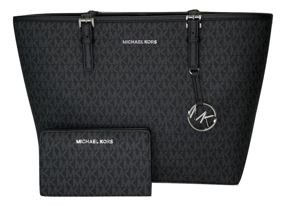 3f1a89c31754 Michael Kors Carryall Jet Set Travel Md Tote and Wallet Signature Mk ...