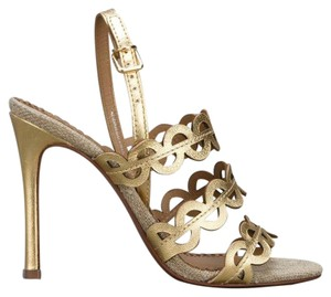 Tory Burch Cutout Heel Leather Gold Sandals