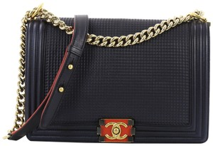 78925edaa6f5 Chanel Leather Shoulder Bag · Chanel. Classic Flap Boy Cube Embossed New  Medium Navy Lambskin ...
