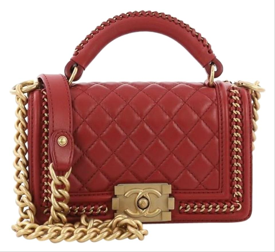 3f425327c5b9ca Chanel Classic Flap Boy Chain Handle Quilted Small Red Calfskin ...