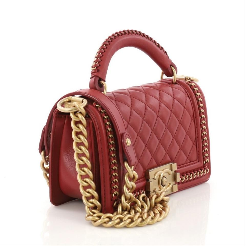 d48d02e3f57e65 Chanel Classic Flap Boy Chain Handle Quilted Small Red Calfskin ...