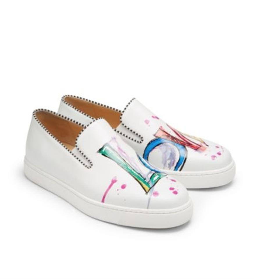 new concept a23fc 715c4 Christian Louboutin White Loubi Love Leather Slip On Sneakers 36 Sneakers  Size EU 36.5 (Approx. US 6.5) Regular (M, B)