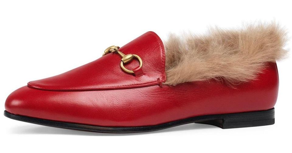 a795591a92b Gucci Red New Jordaan Leather Beige Fur Princetown Loafer Mule ...