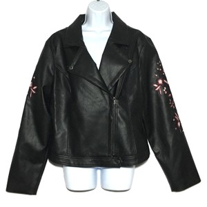 Guess Vegan Leather Moto Floral Embroidery Motorcycle Jacket