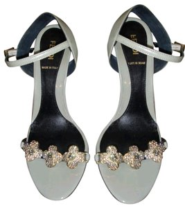 Fendi Patent Leather Diamond Floral Olive Sandals