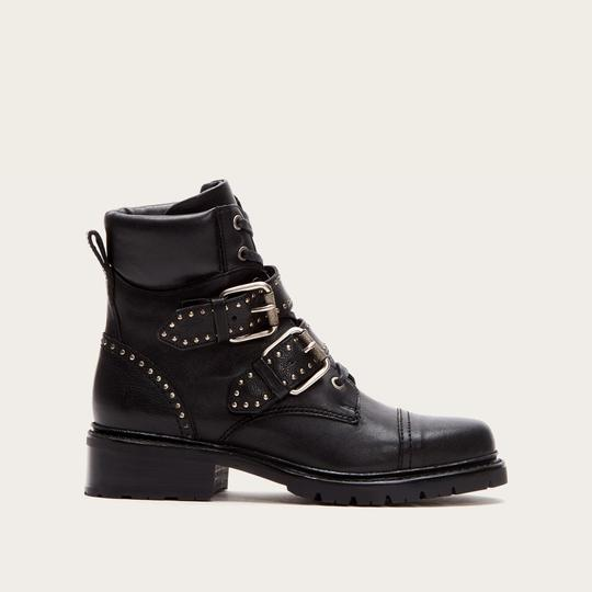 Frye Hiker Leather Studded Buckle Black Boots