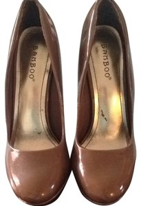 Bamboo Tan Patent Leather Pumps