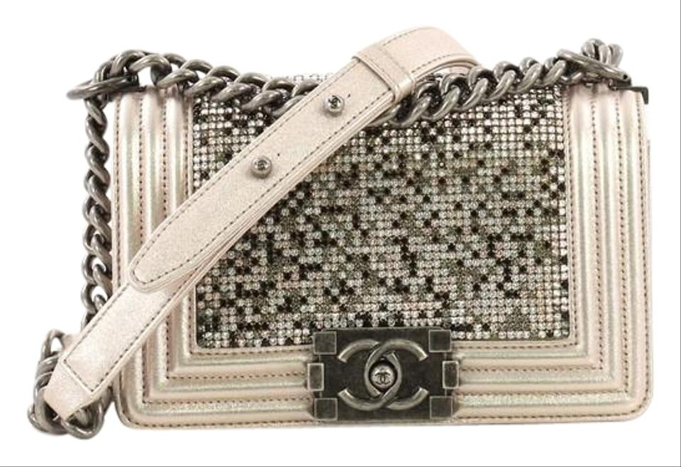 352328b785cf Chanel Classic Flap Boy Strass Embellished Small Light Pink Leather ...
