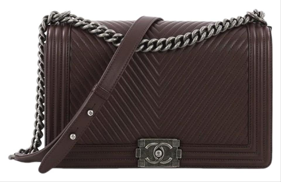 8c6773f35fc0 Chanel Classic Flap Boy Chevron New Medium Dark Burgundy Calfskin Leather  Shoulder Bag