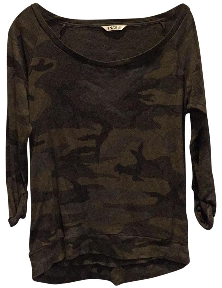 10ff172921808 TNA Green Camo Cotton 3/4 Sleeve Tee Shirt Size 2 (XS) - Tradesy