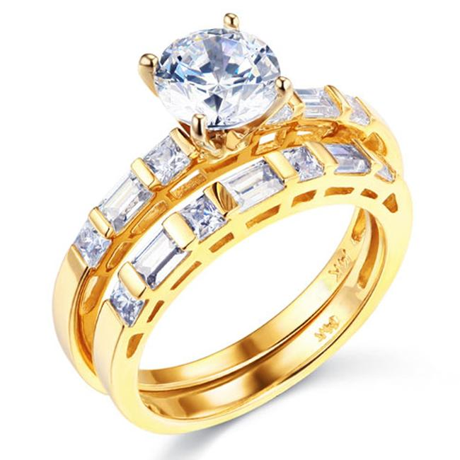 Item - Yellow 1-ct Round-cut Side Baguette Cz Wedding Set In 14k Ring