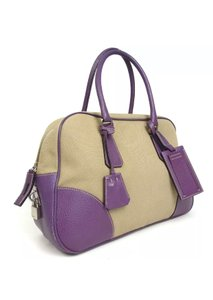 6d99ee7db93e06 Prada Boston Purple Canvas Leather Satchel - Tradesy