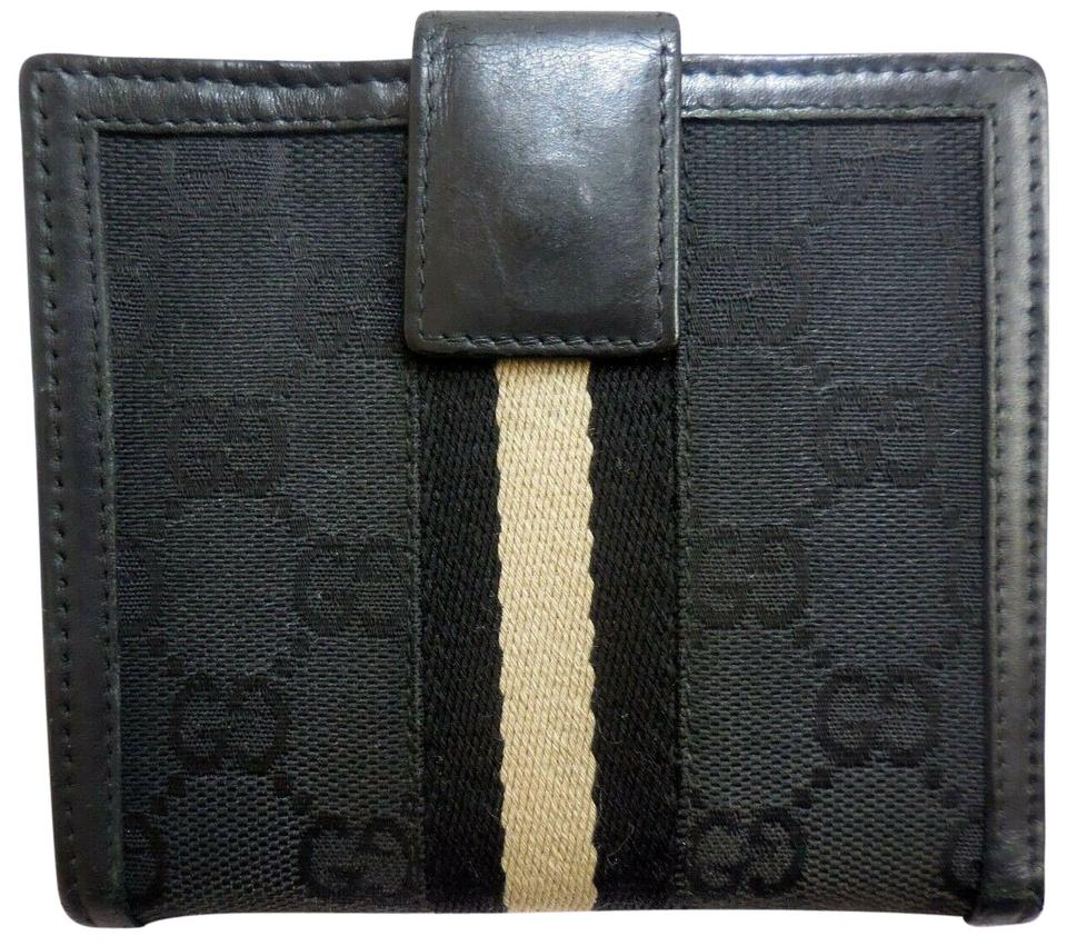 770ba669f43 Gucci Black Large G Logo Print Canvas and Black Leather with A Black ...