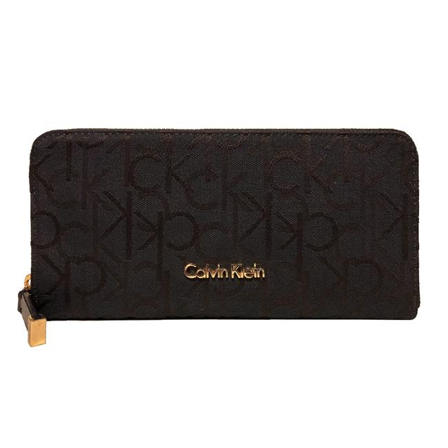 Calvin Klein Black Chocolate Monogram Zip Wallet Calvin Klein Black Chocolate Monogram Zip Wallet Image 1