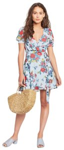 Fame and Partners short dress Blue Floral Princess Sleeve Defined Waist on Tradesy