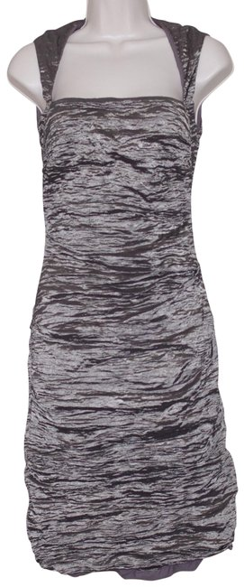 Item - Brown Gold Stretched Square Neck Short Cocktail Dress Size 4 (S)