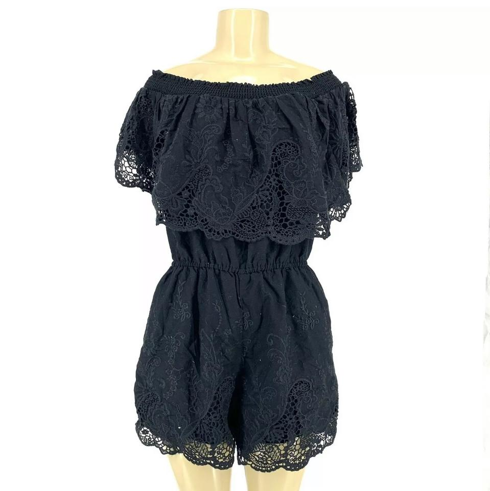 da5b525d6ba0 Abercrombie   Fitch Black Off Shoulder Lace Romper Jumpsuit - Tradesy