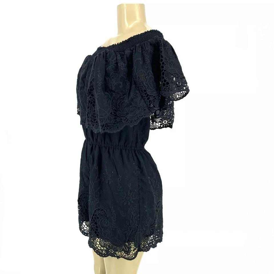 48703c46a51b Abercrombie   Fitch Black Off Shoulder Lace Romper Jumpsuit - Tradesy