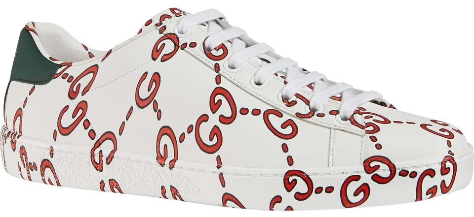 9b7f9421293 Gucci White New Ace Gg Logo Print Red Supreme Leather Flat Trainer ...