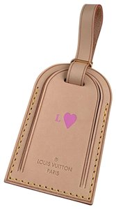 Louis Vuitton Vachetta Leather LARGE Luggage Tag Stamped Pink Heart DUSTBAG BOX
