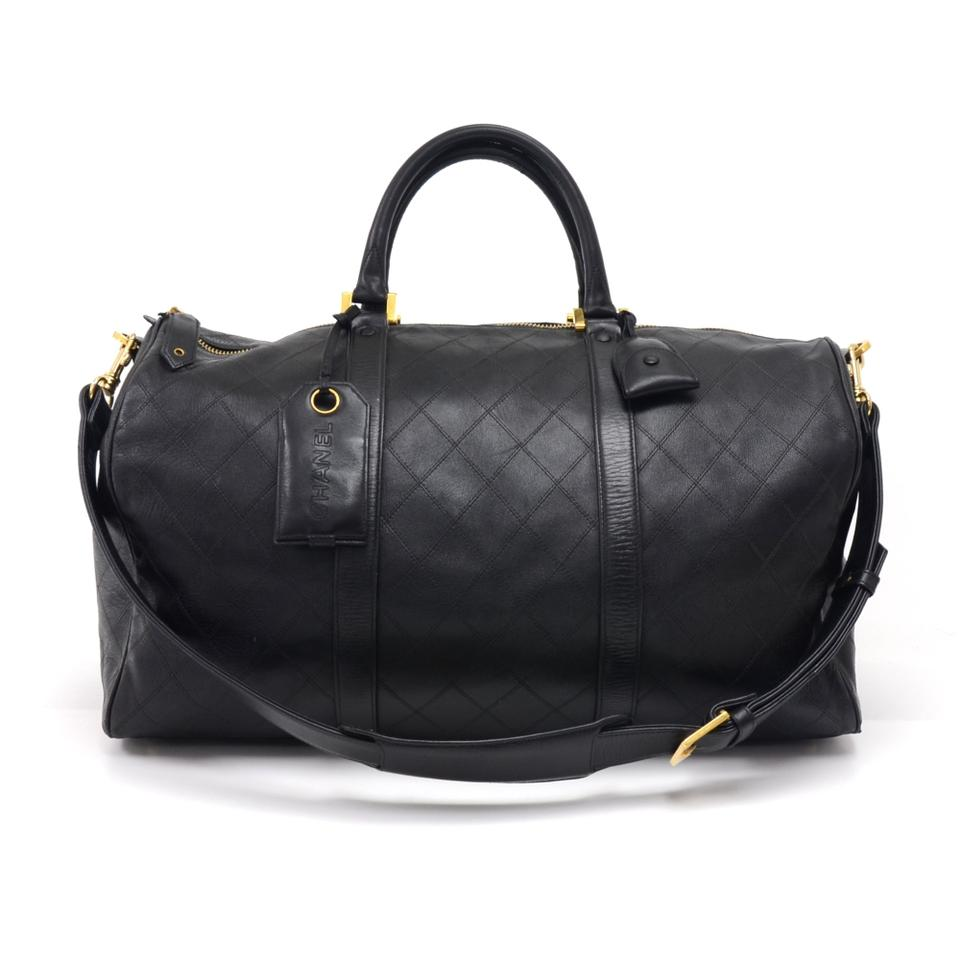 dfe3a9d48cb0 Chanel Vintage Quilted Boston Black Calfskin Leather Weekend/Travel ...