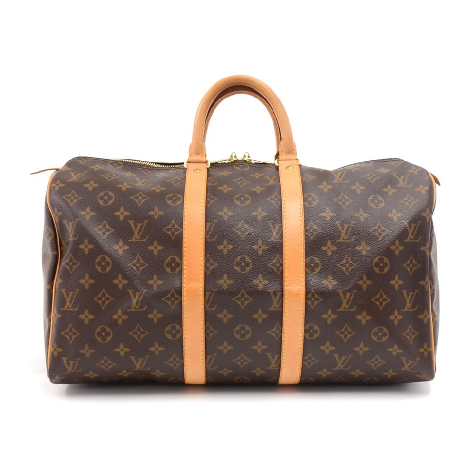 ce69a40c6537 Louis Vuitton Keepall Duffle 45 Monogram Brown Coated Canvas Weekend Travel  Bag