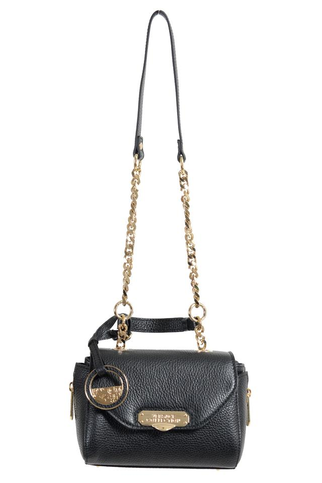 e8d7e51755d1 Versace Collection Women s Pebbled Handbag Black Leather Shoulder ...