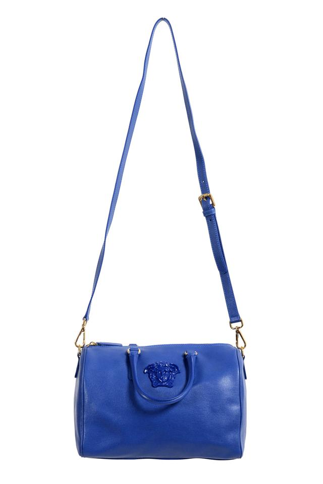 b2bb5d2590ef Versace Women s Saffiano Satchel Handbag Blue Leather Shoulder Bag ...