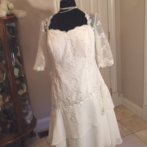 JJ's House Ivory Organza Sequin New with Tags Modern Wedding Dress Size 18 (XL, Plus 0x)