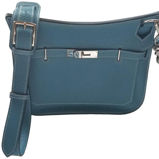 1cbc67d65834 Hermès Jypsiere 28 Clemence Blue Jean Leather Cross Body Bag - Tradesy