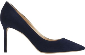 Jimmy Choo Suede Stiletto Designer Pointy Toe Leather Blue Pumps