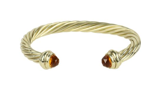David Yurman Citrine 14k Yellow Gold 7.2mm Men's Cable Bracelet Image 1