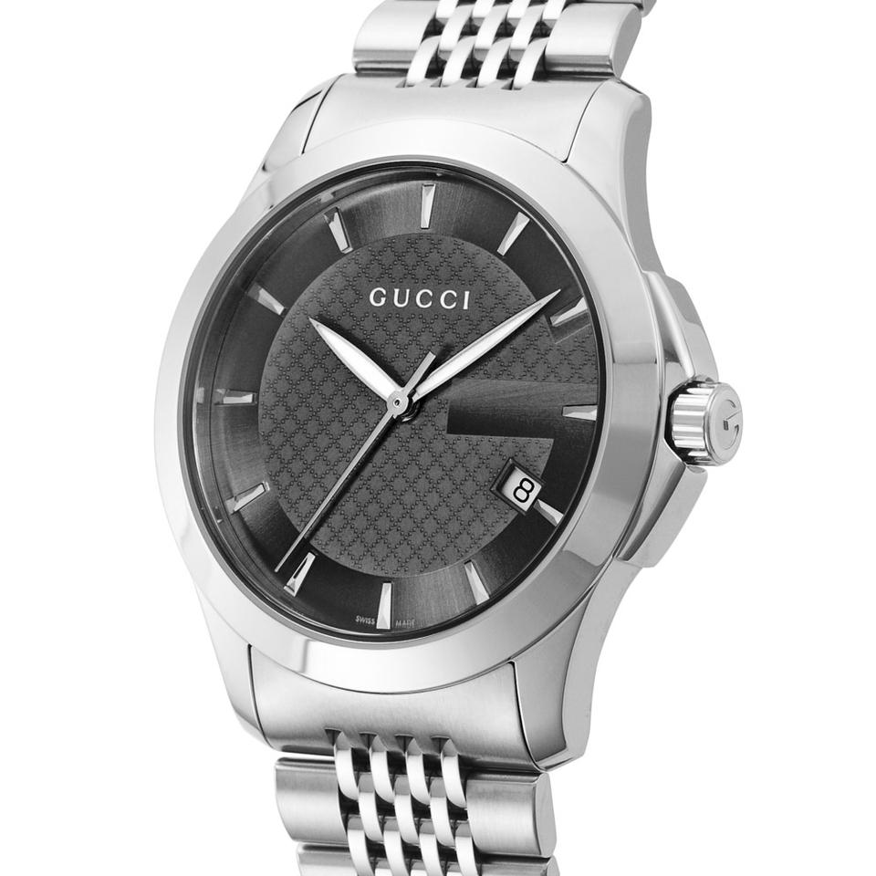 561f54cfb0b Gucci Silver G-timeless Black Dial Ya126402 Mens Swiss Watch - Tradesy