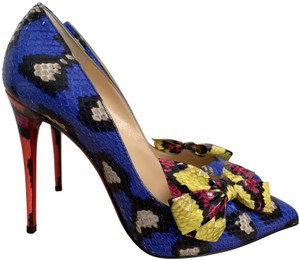 Christian Louboutin Snakeskin Bow Pointed Toe Print Blue Yellow Pink Pumps