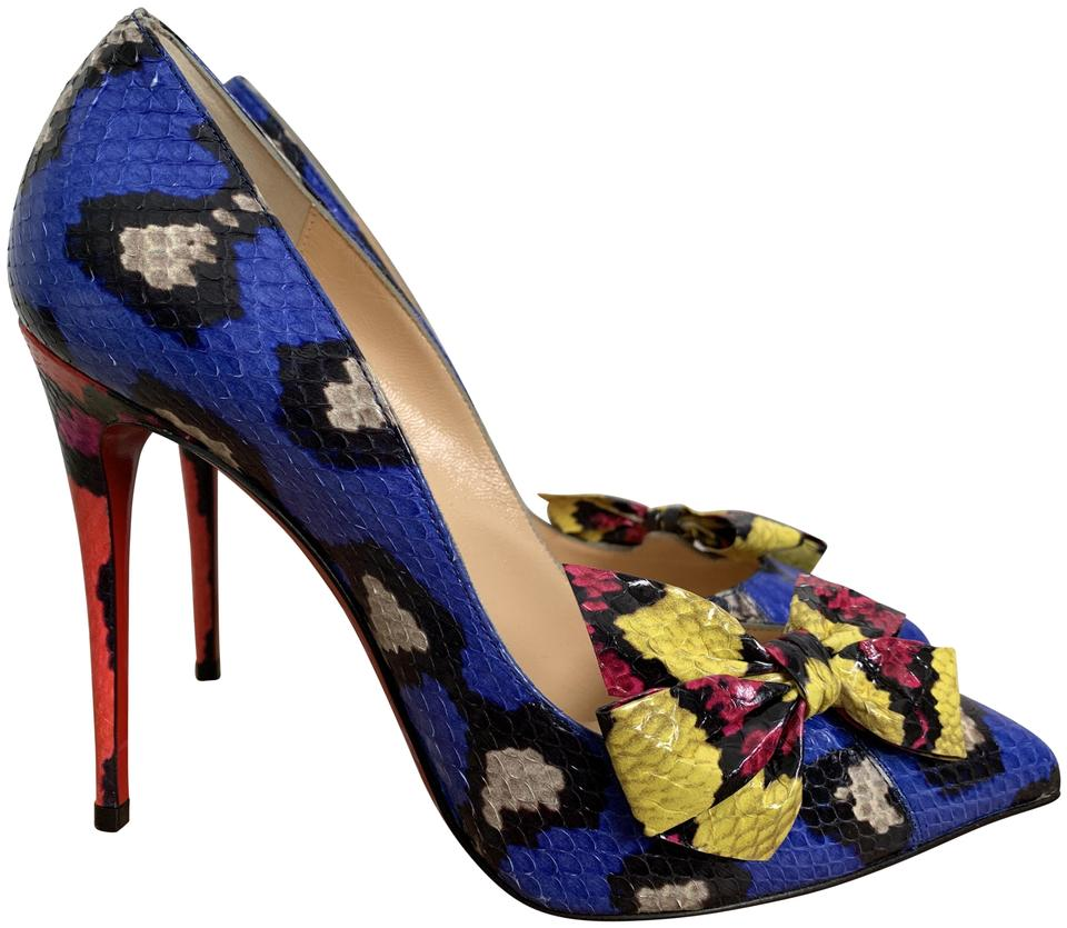 438fe7a3b4e9 Christian Louboutin Snakeskin Bow Pointed Toe Print Blue Yellow Pink Pumps  Image 0 ...