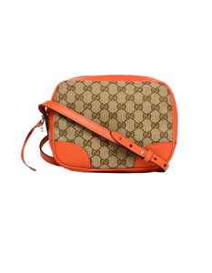 bdc6aa98d3a7 Gucci Bree Leather/Gg Monogram Beige/Orange Canvas Cross Body Bag ...
