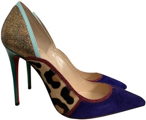 82feb26b9dc4 Christian Louboutin Suede Pointed Toe Leather Calf Hair Purple Gold Blue  Leopard Pink Pumps