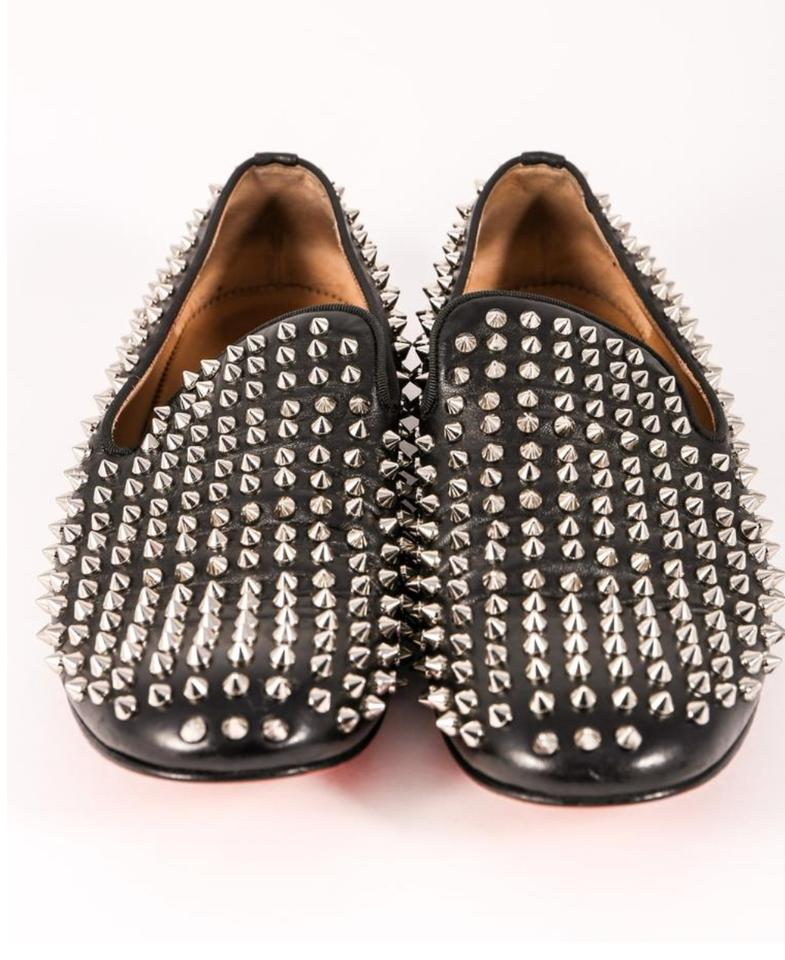 b908d784626 Christian Louboutin Black Leather with Silver Studs Men Rollerboy Flats