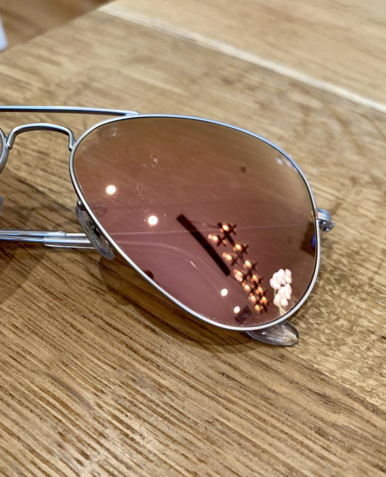 b2e8ecb2efc Ray-Ban Pink Lens   Silver Metal Frame Mirrored Iridescent Aviator ...