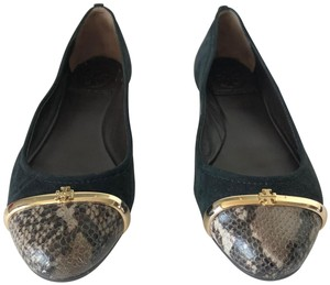 Tory Burch Ballerina Suede Embossed Black and tan Flats